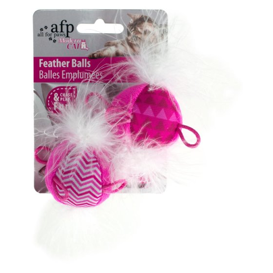 Modern Cat - Feather Ball - Katzenspielzeug - rosa